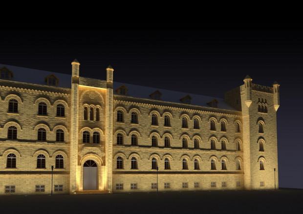Wizualizacja planowanej iluminacji budynku przy ul. Augustyńskiego.