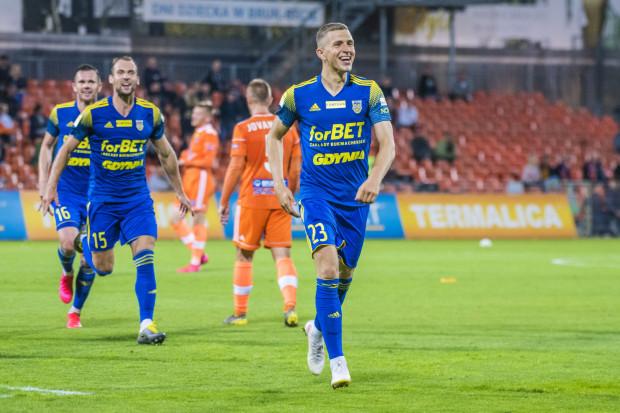Rafał Wolsztyński cieszy się po golu w Niecieczy, który jest jego debiutanckim trafieniem w Arce Gdynia i od razu na wagę 3 punktów w Fortuna I liga.