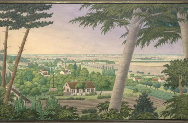 Święta Studzienka, widok z Królewskiego Wzgórza, akwarela Augusta Lobegotta Randta z 1854 r. wedle rysunku z 1825 r.