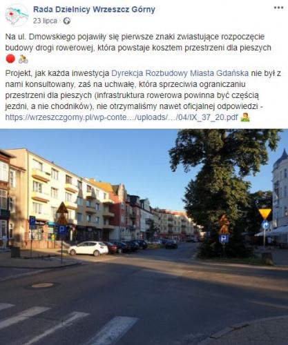 Rada dzielnicy wskazuje, że przebudowa Dmowskiego nie była z nią konsultowana, a nowa droga rowerowa powinna powstać kosztem jezdni, a nie chodnika.