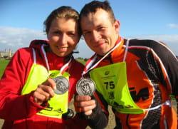 Emilia i Krzysztof Kochanowicz na mecie 86-kilometrowej trasy.