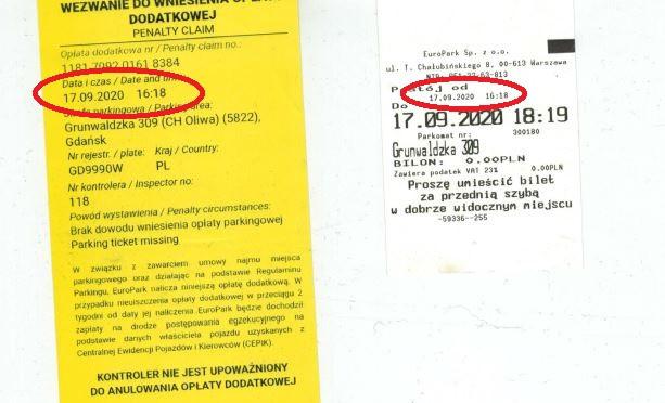 Ta sama data, ta sama godzina. Po lewej wezwanie do zapłaty (ostatecznie anulowane) i bilet parkingowy z parkomatu.
