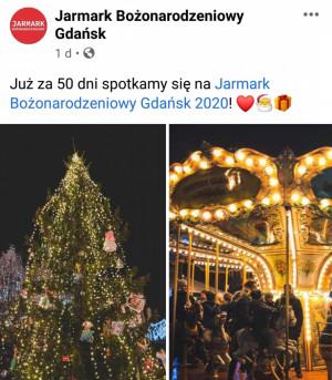 Informacja zamieszczona na facebookowym profilu Jarmarku Bożonarodzeniowego w czwartek, 1 października.