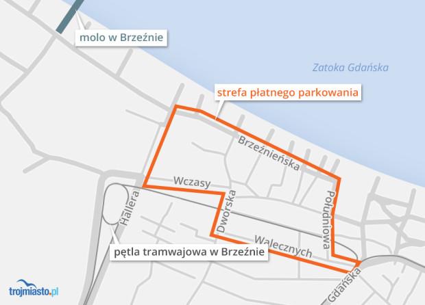 Pobór opłat w Brzeźnie miałby objąć obszar ograniczony ulicami: Walecznych, Południową, Brzeźnieńską (z włączeniem tych ulic), Hallera (z wyłączeniem ulicy), Wczasy, Dworską (z włączeniem tych ulic).
