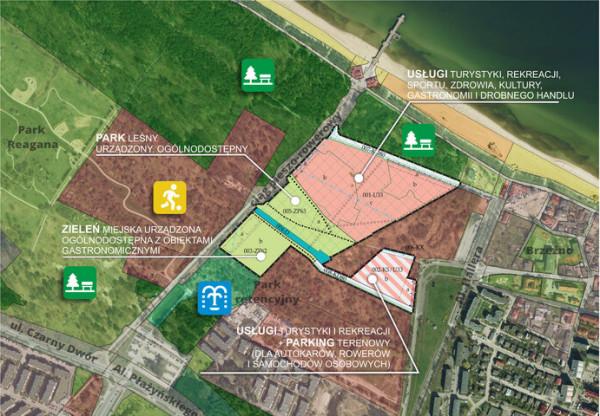 Mapa, na której zaznaczono granice terenu objętego planem zagospodarowania oraz funkcje przypisane do działek. W pierwotnej wersji teren pod zieleń miejską był przeznaczony pod zabudowę usługową.