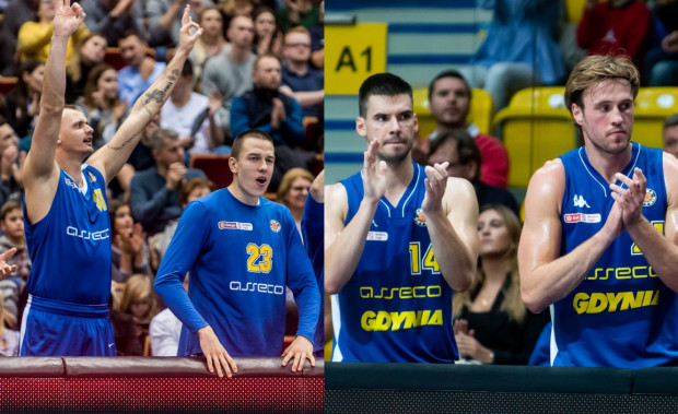 Dariusz Wyka (pierwszy z lewej) i Grzegorz Kamiński (drugi z lewej) grali w gdyńskim klubie od 2017 roku, a minionego lata odeszli do Legii Warszawa. Dziś na ich odejściach w Asseco Arce korzystają: Wojciech Czerlonko (drugi z prawej) i Mikołaj Witliński (pierwszy z prawej).