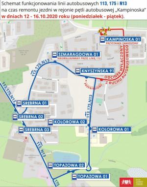 Autobusy będą kursować zmienionymi trasami do piątku.