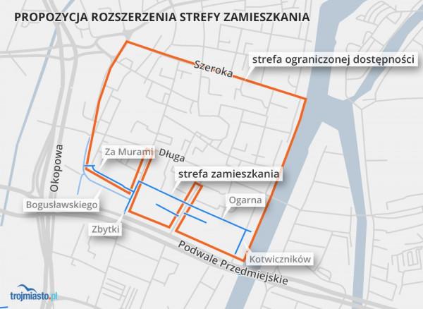 Strefa Ograniczonej Dostępności (na pomarańczowo) oraz proponowany obszar do objęcia strefą zamieszkania (na niebiesko).