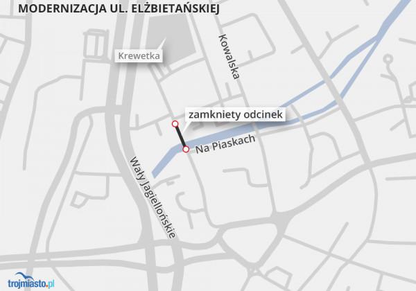 Odcinek ul. Elżbietańskiej został zamknięty na około miesiąc.