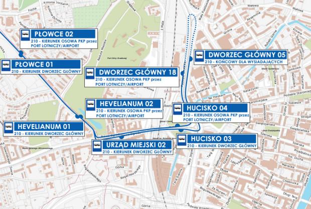 Schemat przebiegu linii autobusowej 210 w Śródmieściu od soboty.