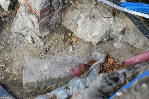 Fragmenty żarna, odnalezionego w Wielkim Młynie.