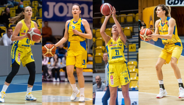 Reprezentacyjne powołania na listopadowe zgrupowania jako pierwsze otrzymały zagraniczne koszykarki: Słowaczki Barbora Balintova (z lewej) i Angelika Slamova (druga od lewej), Litwinka Laura Miskiniene (druga od prawej) i Niemka Sonja Greinacher (z prawej).