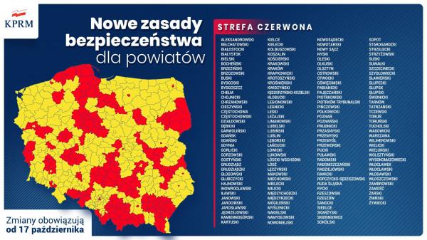 """Ponad 150 powiatów trafi od soboty na listę """"czerwonych"""", gdzie obowiązują ostrzejsze obostrzenia związane z epidemią COVID-19."""