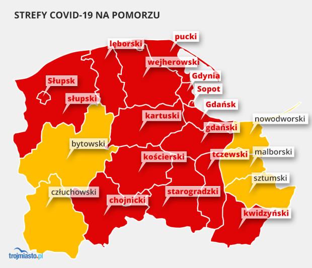 Czerwone strefy na Pomorzu od soboty, 17 października.