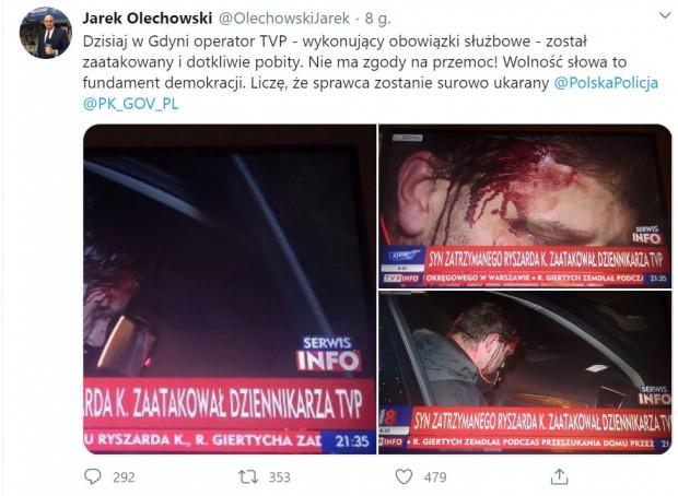 Informację o pobiciu podał na twitterze Jarosław Olechowski z TVP.