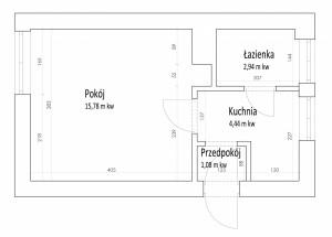 Rzut i wymiary mieszkania.