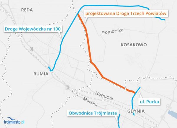 Planowany przebieg Drogi trzech powiatów
