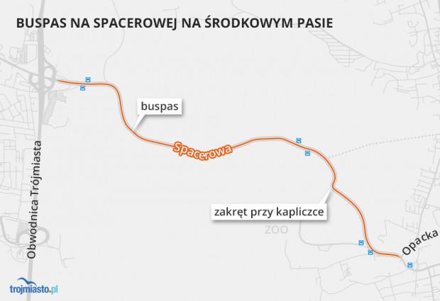 Buspas na Spacerowej ze zmiennym kierunkiem ruchu. Rano autobusy mają jechać nim w kierunku Oliwy, a po południu - w stronę Osowej.