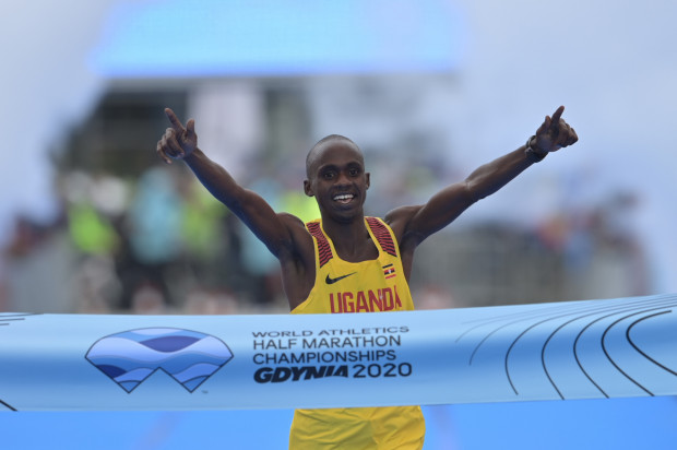 Ugandyjczyk Jacob Kiplimo był najlepszy wśród mężczyzn na mistrzostwach świata w półmaratonie w Gdyni.