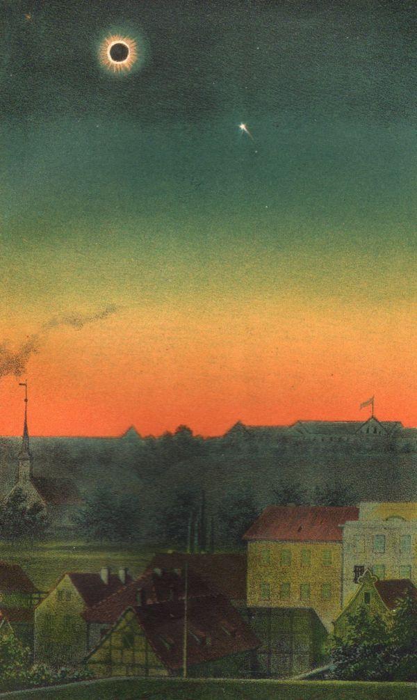 Zaćmienie słońca w 1851 roku nad Biskupią Górką. Ilustracja zamieszczona w pracy Katla von Littrowa.