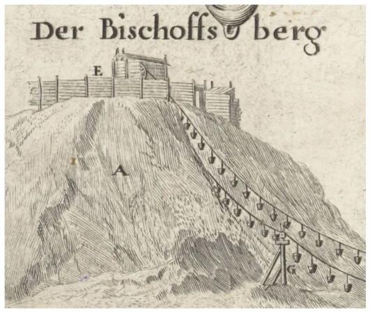 Na Biskupiej Górce ziemię wkładano do specjalnych koszy, które były transportowane w dół, na plac budowy. Fragment ryciny Wilhelma Hondiusa.