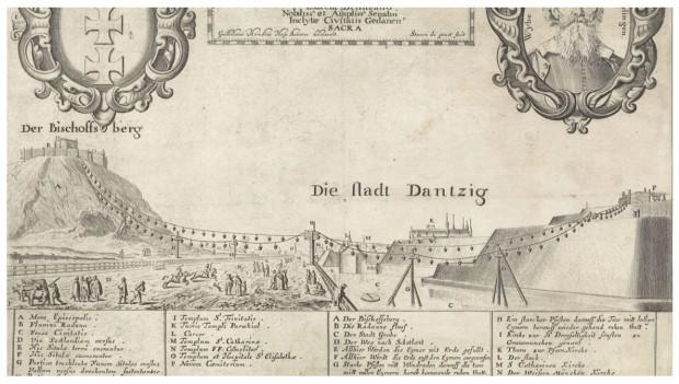 Rycina Wilhelma Hondiusa przedstawiająca schemat działania kolejki linowej, dzięki której transportowano ziemię służącą do budowy miejskich wałów i umocnień.