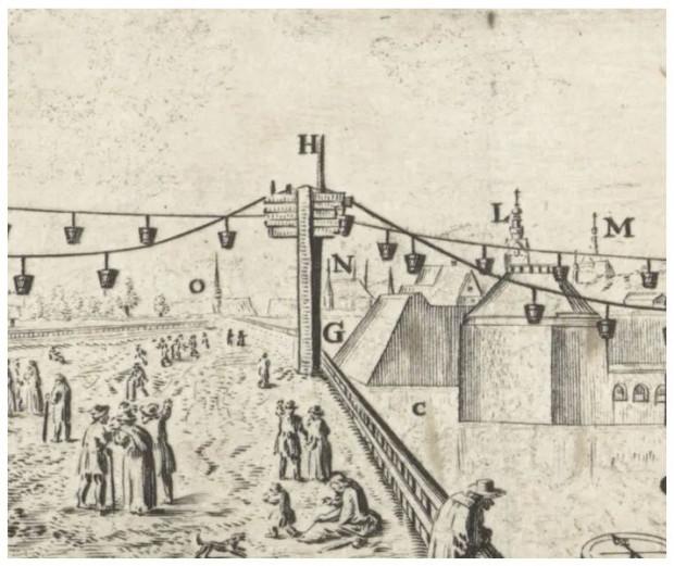 Pomiędzy punktem załadunku oraz wyładunku ustawiono drewniane podpory, które zapewniały stabilność i odpowiednie działanie całej konstrukcji. Robotnicy znajdujący się na szczycie podpór przenosili kubły nad ich zwieńczeniem, zapewniając płynność ruchu. Fragment ryciny Wilhelma Hondiusa.