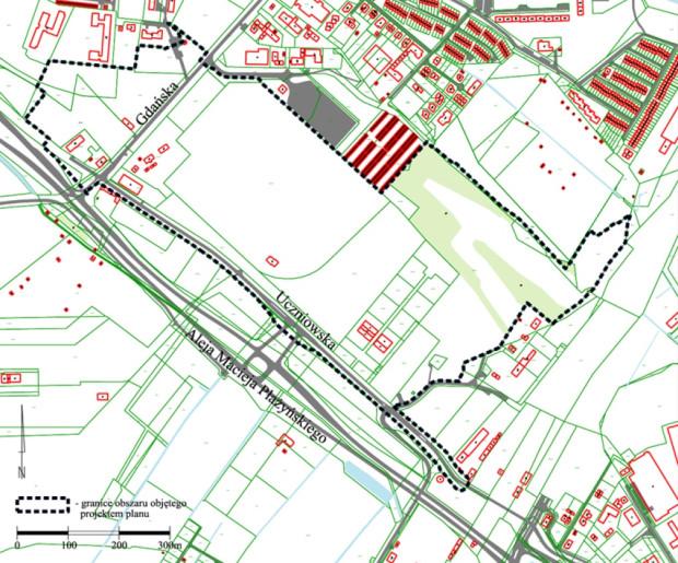 Granice obszaru objętego przystąpieniem do sporządzania planu zagospodarowania.