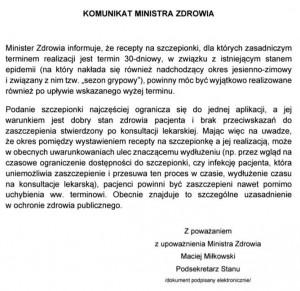 Odpowiedź ministra zdrowia na interpelację ws. przedłużenia ważności recept na szczepienia przeciwko grypie.