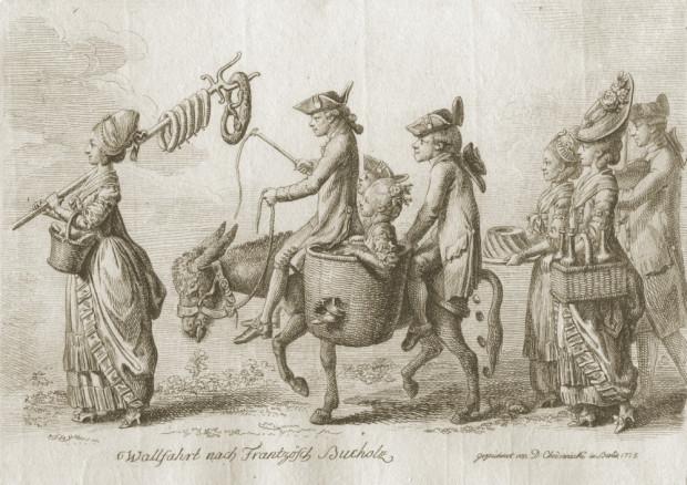 """Daniel Chodowiecki, """"Wyprawa do Francuskiego Lasku"""", akwaforta, 1779, E.337 © kolekcja prywatna, Kraków"""
