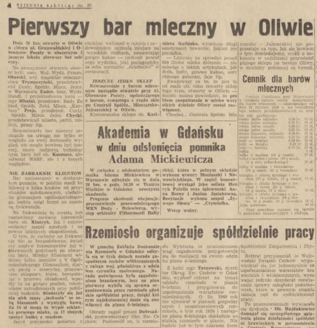 """Artykuł z """"Dziennika Bałtyckiego"""" z 27 stycznia 1950 roku o otwarciu baru mlecznego w Oliwie."""