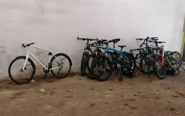 Część odzyskanych przez policję rowerów.