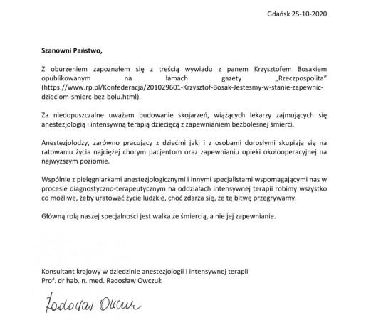 Oświadczenie opublikowane przez krajowego konsultanta