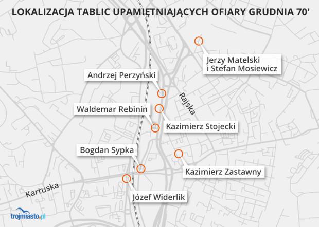Planowana lokalizacja wszystkich tablic z nazwiskami ofiar.