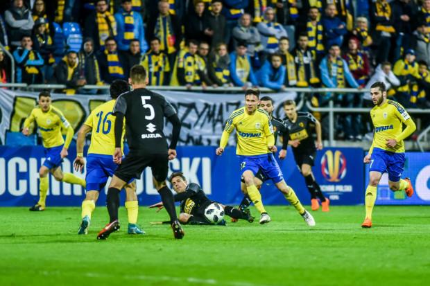 Mecz pucharowy pomiędzy Arką Gdynia a Koroną Kielce przełożony został na 4 listopada. Na zdjęciu spotkanie tych drużyny z kwietnia 2018 roku, które decydowało o awansie do finału.