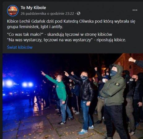 """Wpis z profilu """"To My Kibole"""" na temat wydarzeń z udziałem kibiców Lechii Gdańsk."""