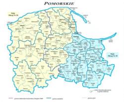 Przyporządkowanie pomorskich gmin i powiatów do okręgów wyborczych w wyborach do Sejmu. Wybierzemy w nich 26 posłów.