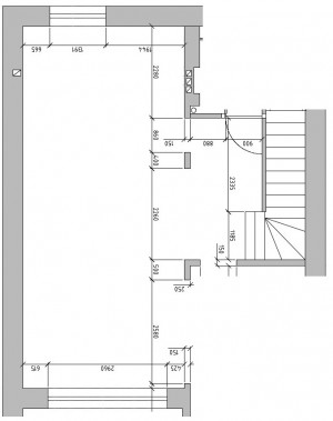 Rzut i wymiary projektowanej części wnętrza.
