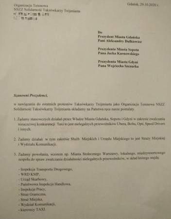 Pismo z postulatami taksówkarzy złożone do prezydentów Gdańska, Sopotu i Gdyni.
