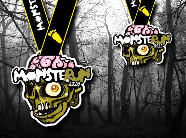 Takie medale czekają na uczestników biegu MonsteRUN. Impreza wbrew pierwotnym planom odbędzie się w formule online, a medale zostaną wysłane pocztą.