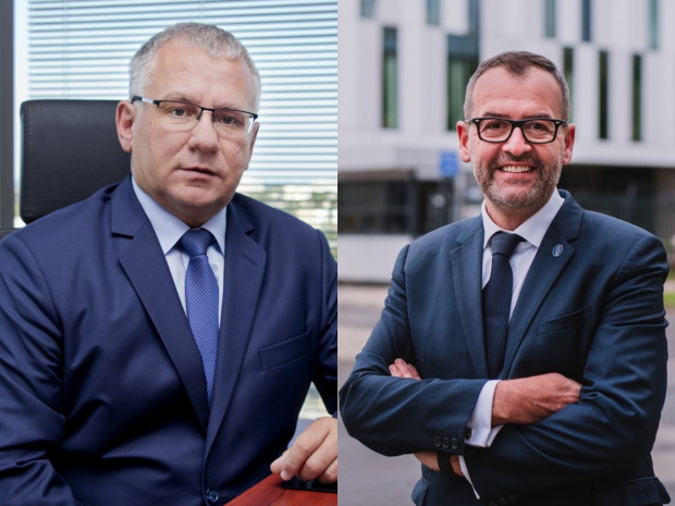 Dwóch kandydatów na stanowisko rektora UG: prof. dr hab. Krzysztof Bielawski i prof. dr hab. Piotr Stepnowski.