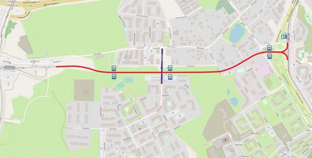 Linia tramwajowa Nowa Warszawska przebiegać będzie od pętli tramwajowej przy al. Pawła Adamowicza i włączać się będzie w al. Havla na wysokości istniejącego skrzyżowania z ul. Łódzką.
