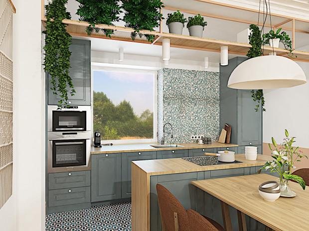 Pierwsza koncepcja uwzględnia wyspę kuchenną, która była marzeniem domowników.