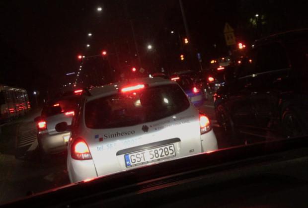 Blokada samochodowa w Gdańsku.