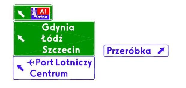 Zestaw drogowskazów, które zostaną zamontowane na bramownicy na ul. Elbląskiej.