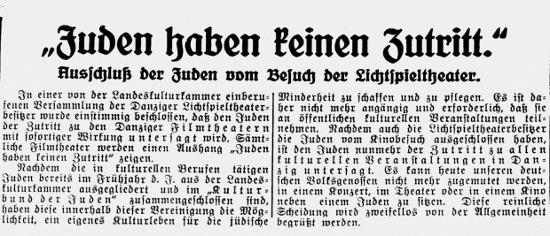 """Artykuł prasowy z 18 listopada 1939 r. z największego  w WMG dziennika """"Danziger Neueste Nachrichten"""" informujący o zakazie uczęszczania Żydów do gdańskich kin."""