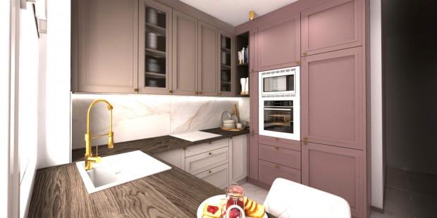 Koncepcja druga. Aranżacja wnętrza zakłada odważniejsze kolory przy jednoczesnym zastosowaniu bardziej klasycznej stylistyki.