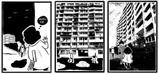 """Kadry z komiksu """"Czar falowca"""" trójmiejskiej rysowniczki - Magdy Danaj."""