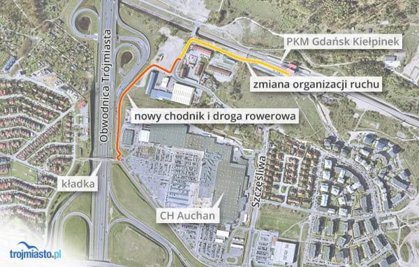 Nowa infrastruktura pieszo-rowerowa połączy kładkę nad obwodnicą z przystankiem PKM Kiełpinek.