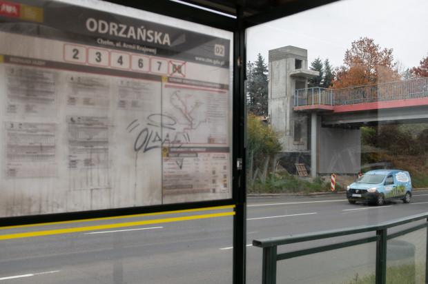 Budowa wind przy przystanku tramwajowym Odrzańska w Gdańsku.
